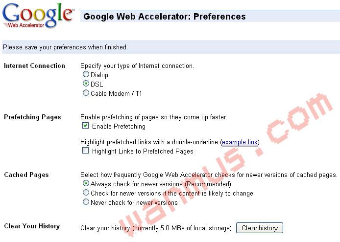 google-web-accelerator-preference